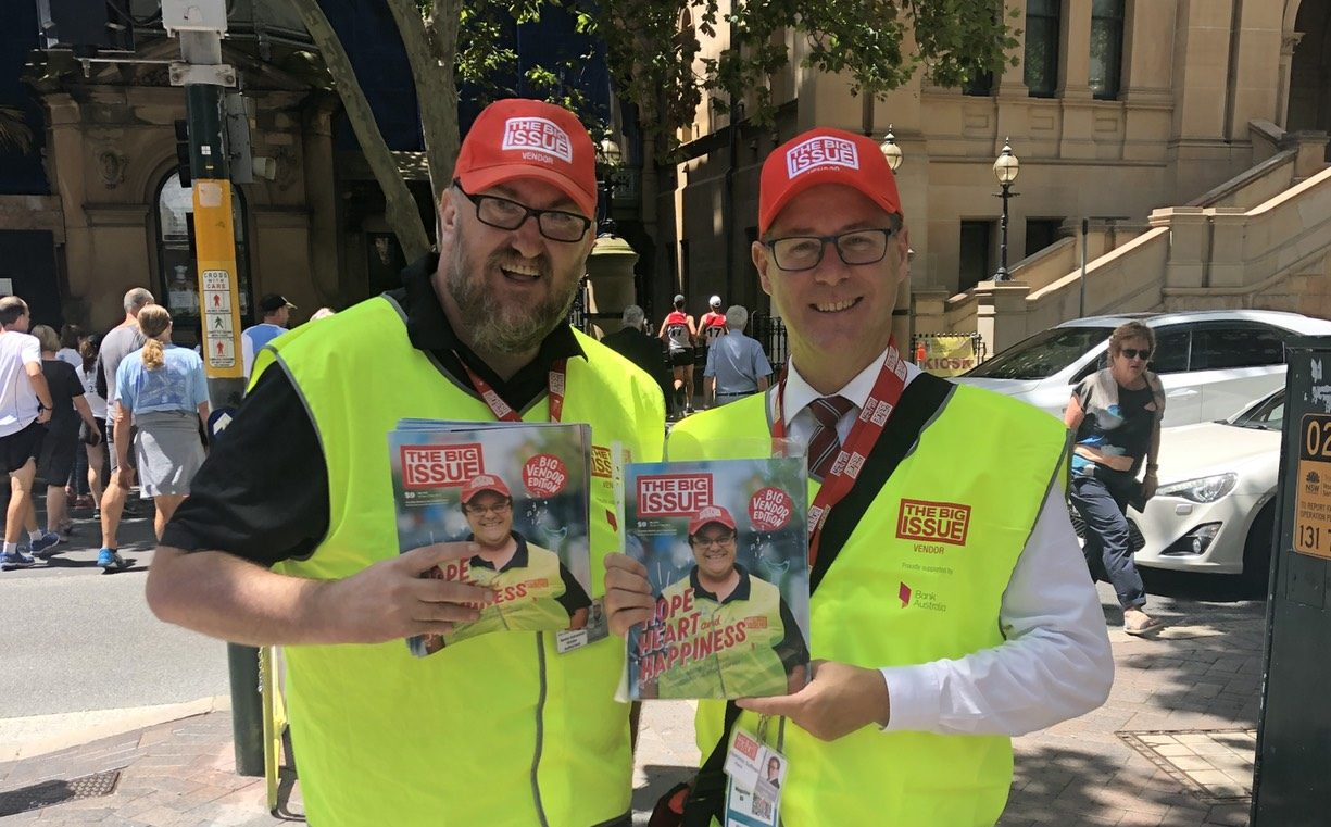 Dominic Sullivan with one of the The Big Issue vendors for the CEO Challenge
